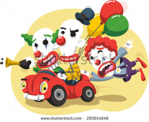 stock-vector-circus-clown-performance-in-car-with-balloons-and-horn-vector-cartoon-illustration-293014046