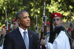 President Barack Obama reviews the Presidential Guard in Athens, Greece, on Nov. 15, 2016