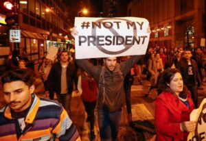 Protesters against Republican president-elect Donald Trump